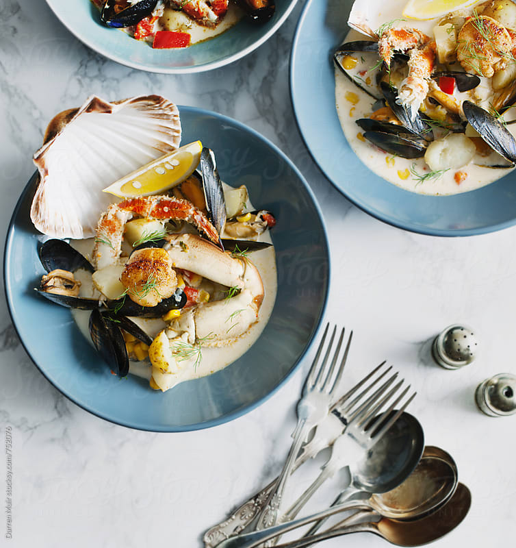Seafood chowder.  by Darren Muir for Stocksy United