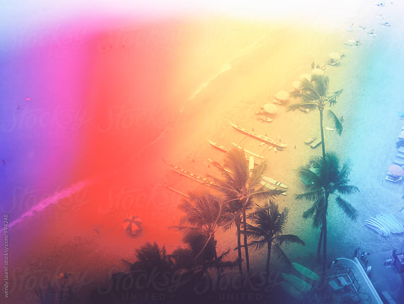 rainbow tinted waikiki beach oceanscape by wendy laurel for Stocksy United