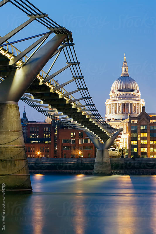 Millennium Bridge and St. Pauls Cathedral, illuminated at dusk, London, England, UK, Europe by Gavin Hellier for Stocksy United