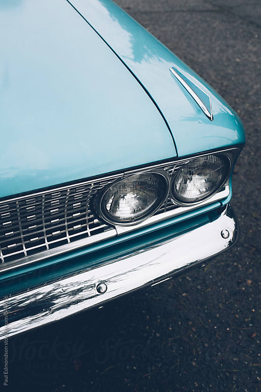 Detail of vintage car, focus on headlight by Paul Edmondson for Stocksy United