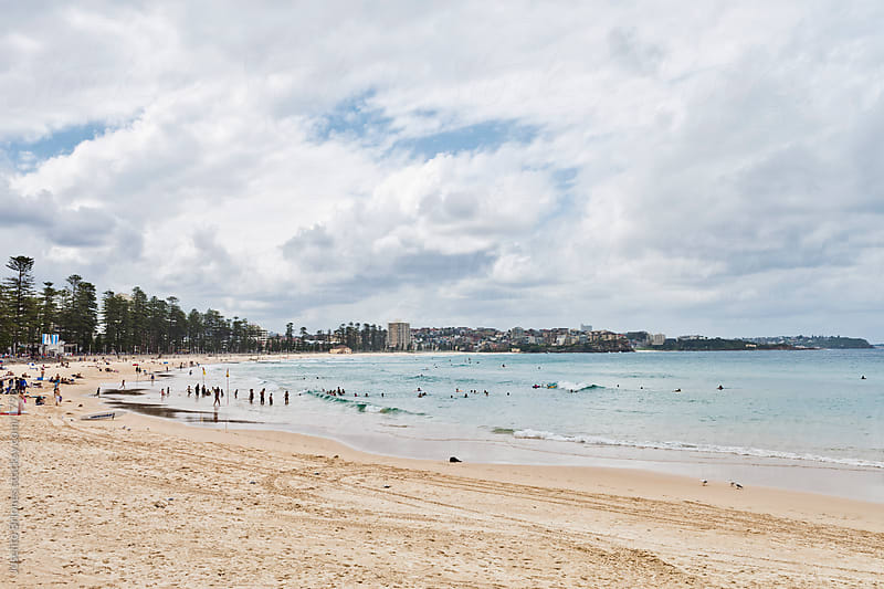Cloudy Day at Manly Beach, Sydney, Australia by Joselito Briones for Stocksy United