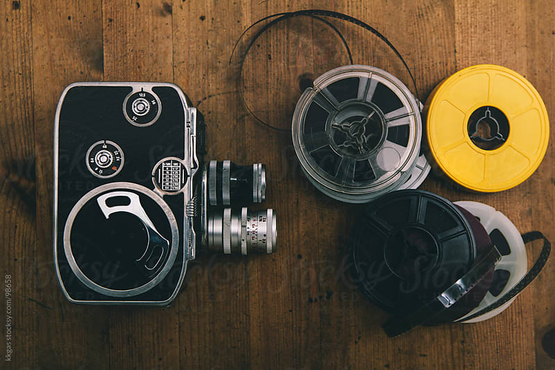 Vintage cinema camera and reels by kkgas for Stocksy United
