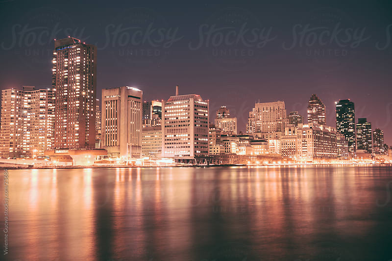 Upper East Side Skyline at Night - New York City by Vivienne Gucwa for Stocksy United