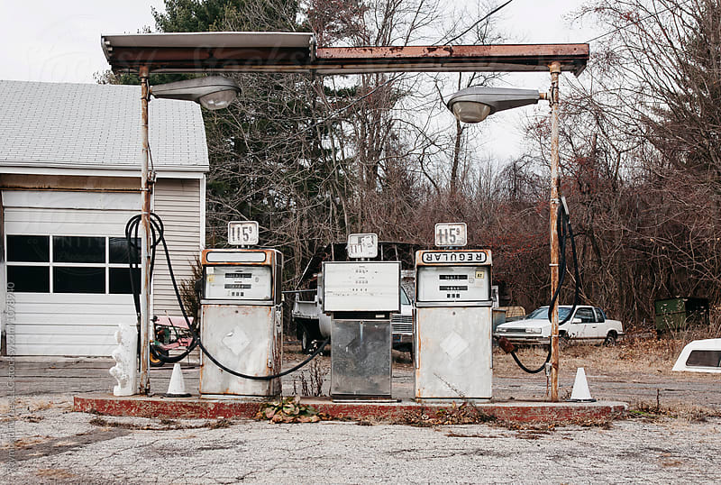 Abandoned Rural Gas Station by Raymond Forbes LLC for Stocksy United
