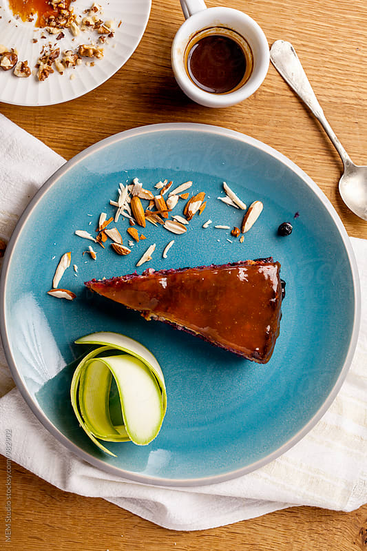 Cake with zucchini and almods by MEM Studio for Stocksy United