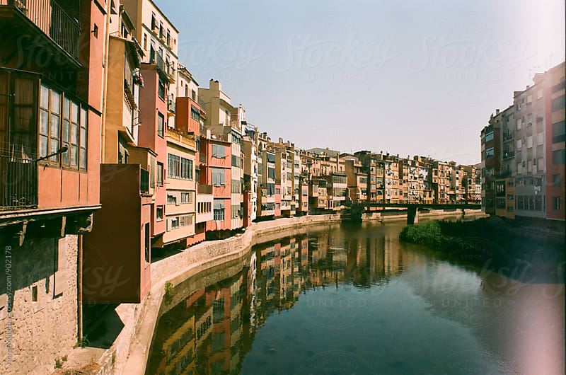 A film photo of canal in Girona on summer by Anna Malgina for Stocksy United