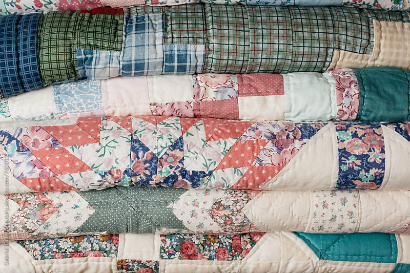 Various folded quilts by Gabriel (Gabi) Bucataru for Stocksy United