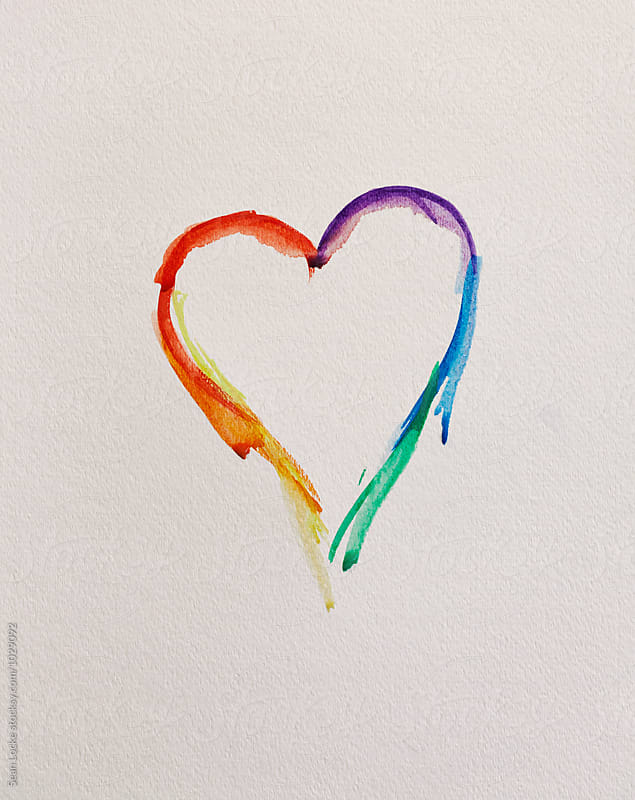 Rainbow Watercolor Heart For Love by Sean Locke for Stocksy United