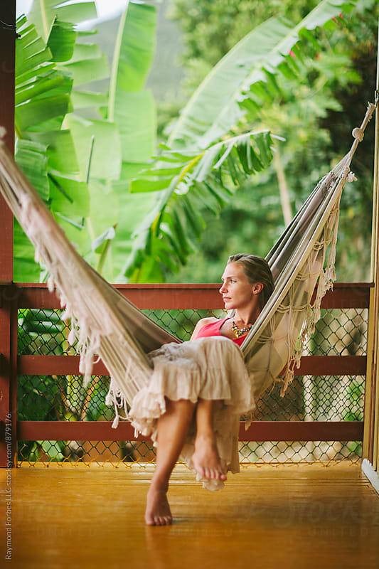 Woman relaxing at Villa Ilha Santa Catarina Florianopolis, Brazil  by Raymond Forbes LLC for Stocksy United