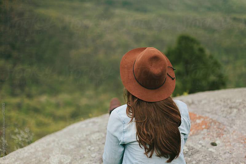 Female on scenic overlook by Christian Gideon for Stocksy United