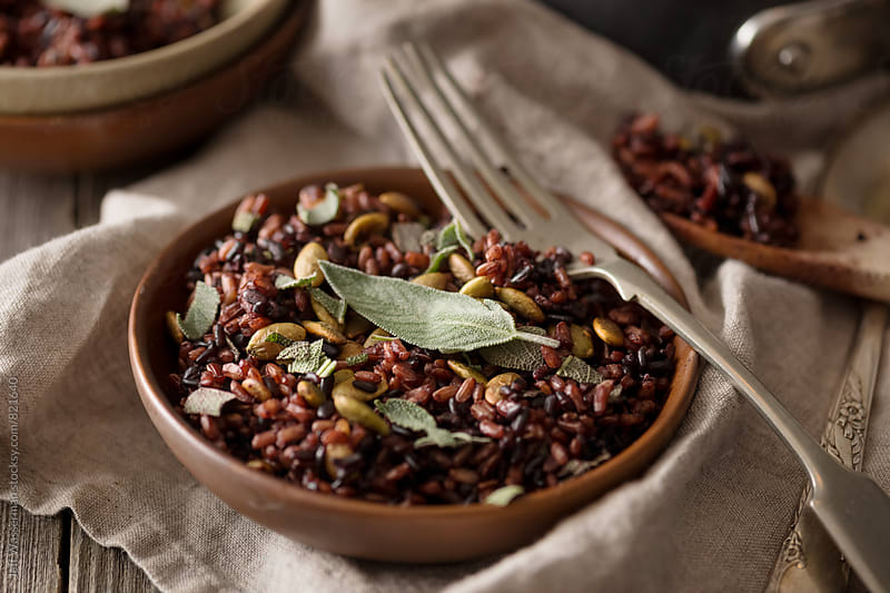 Heirloom Black and Red Rice with Pumpkin Seeds and Sage by Studio Six for Stocksy United