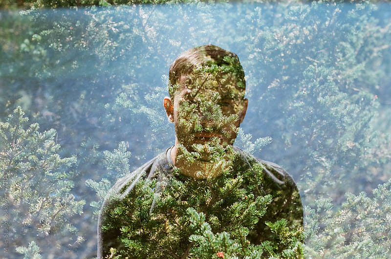 Double exposure portrait of man by Milles Studio for Stocksy United