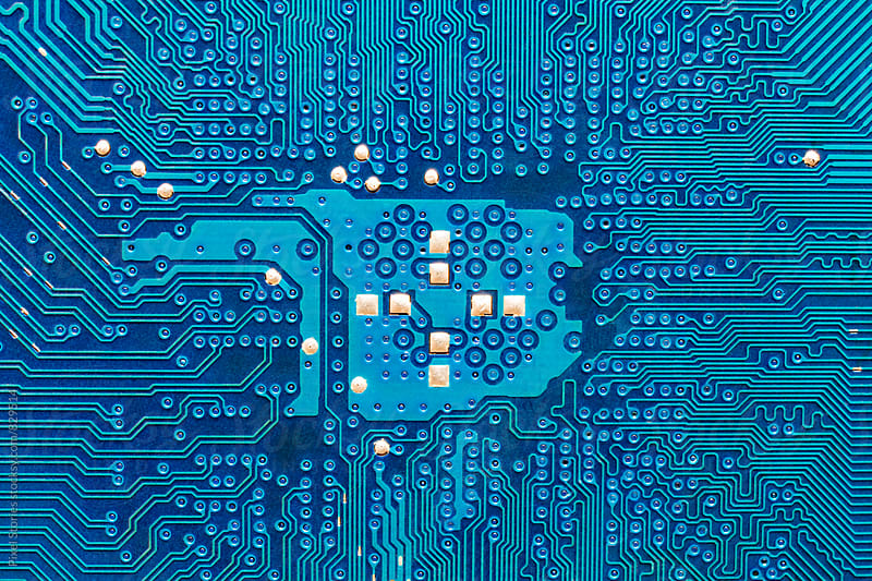 Blue printed circuit board macro by Pixel Stories for Stocksy United