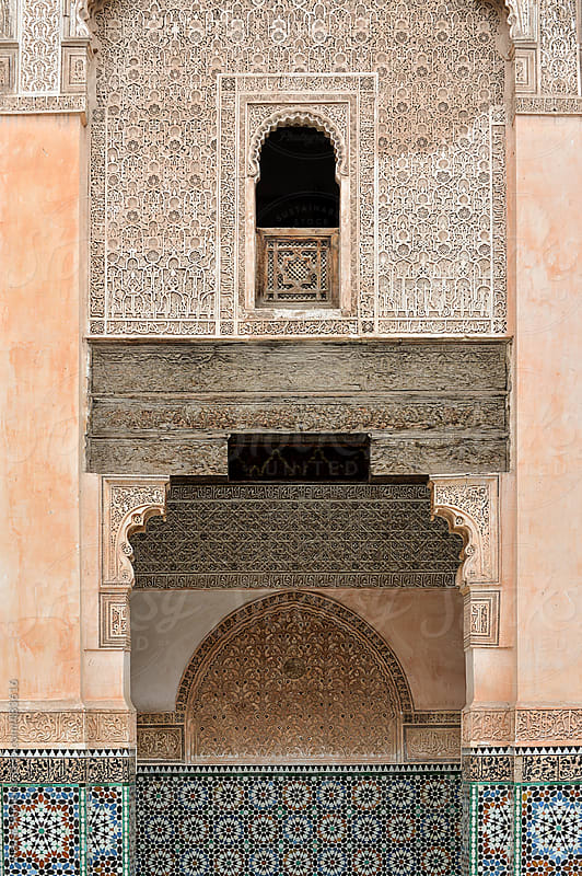 Decorative exterior of Ben Youssef Medersa in Marrakech. by Bisual Studio for Stocksy United