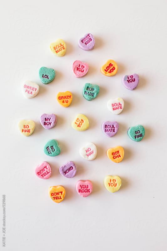 Valentine's Day candy hearts by KATIE + JOE for Stocksy United