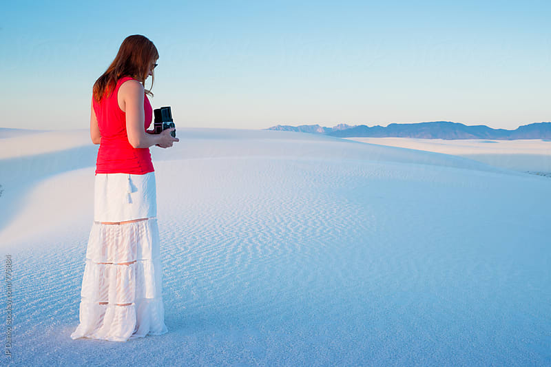 Femal Photographer at White Sands National Monument in Soft Early Morning Light by JP Danko for Stocksy United