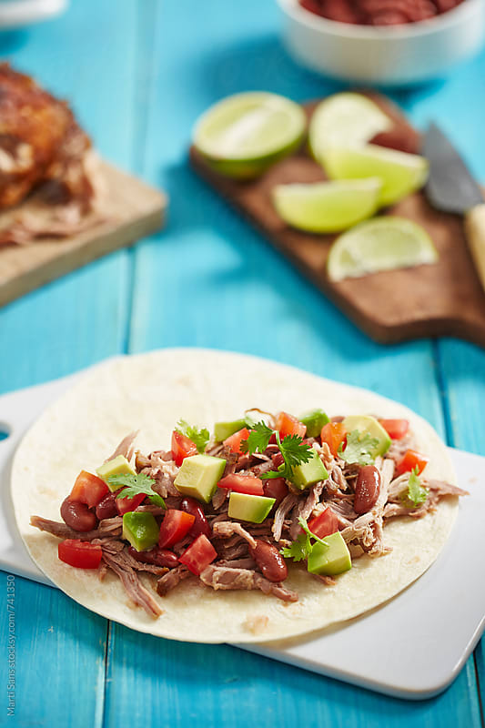 Pork meat tacos by Martí Sans for Stocksy United