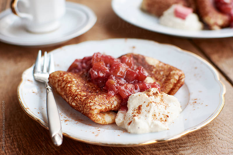 Vegan Cream Cheese Blintzes with Rhubarb Compote by Harald Walker for Stocksy United