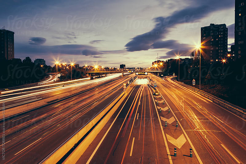 M30 Highway in an Autumn Evening, Madrid, Spain by VICTOR TORRES for Stocksy United