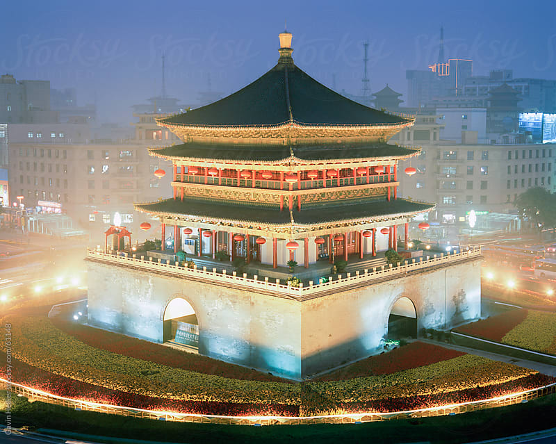 Night view of the Bell Tower, Qing Dynasty, city centre, Xian, Shaanxi Province, China, Asia by Gavin Hellier for Stocksy United