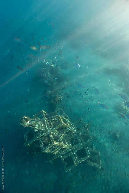 Artificial reef in a shape of pyramid set underwater to attract fish and corals in Jmeluk bay of Amed in Bali by Jovana Milanko for Stocksy United