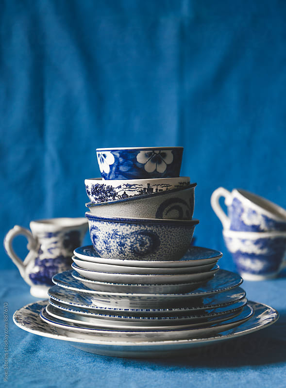 Various blue bowls and dishes by Pixel Stories for Stocksy United