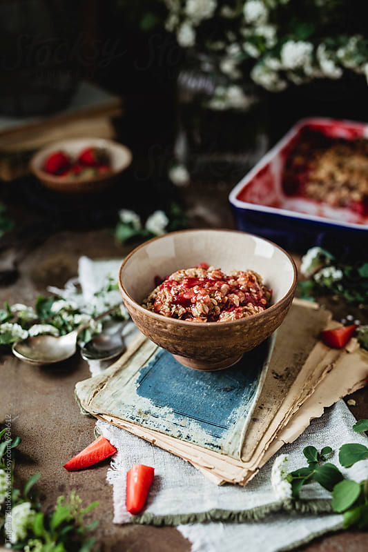 Vegan strawberry crumble by Tatjana Zlatkovic for Stocksy United