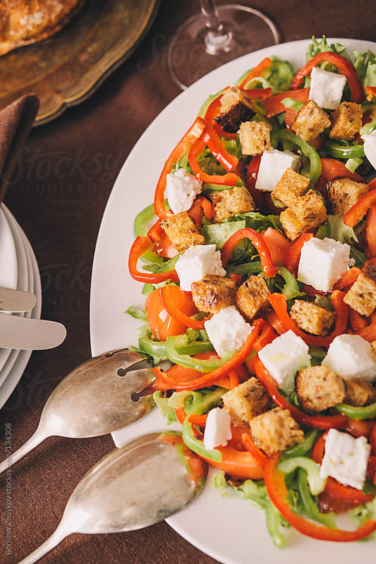 Healthy salad with croutons by Borislav Zhuykov for Stocksy United