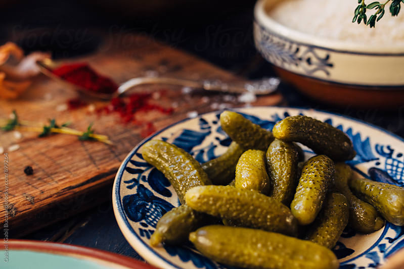 Plate with pickled gherkins by Gabriel (Gabi) Bucataru for Stocksy United