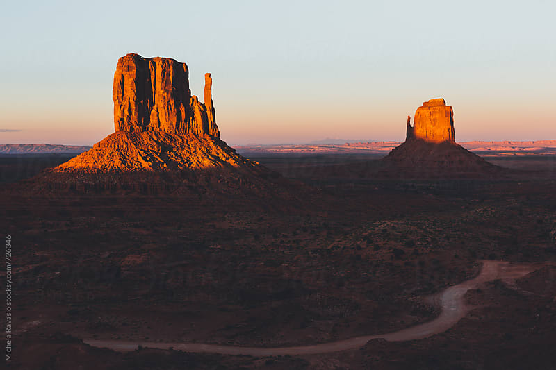 Monument Valley Mittens at sunset, Usa by michela ravasio for Stocksy United