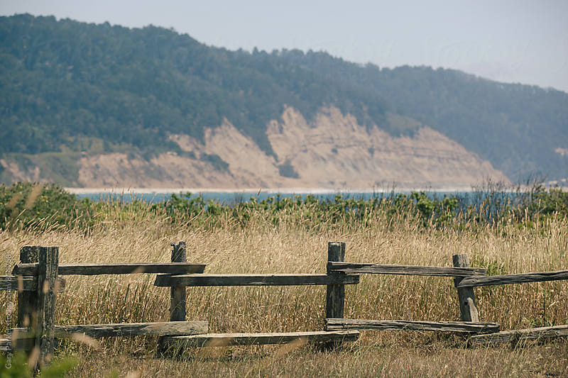 An old wooden fence in a grassy field with the ocean in the background by Gary Parker for Stocksy United