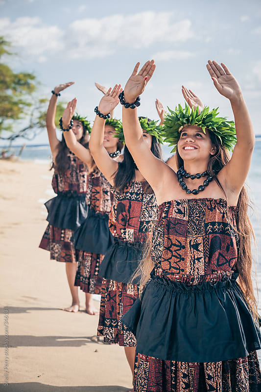 Group of Teenage Traditional Hawaiian Hula Dancers Performing on the Beach by Shelly Perry for Stocksy United