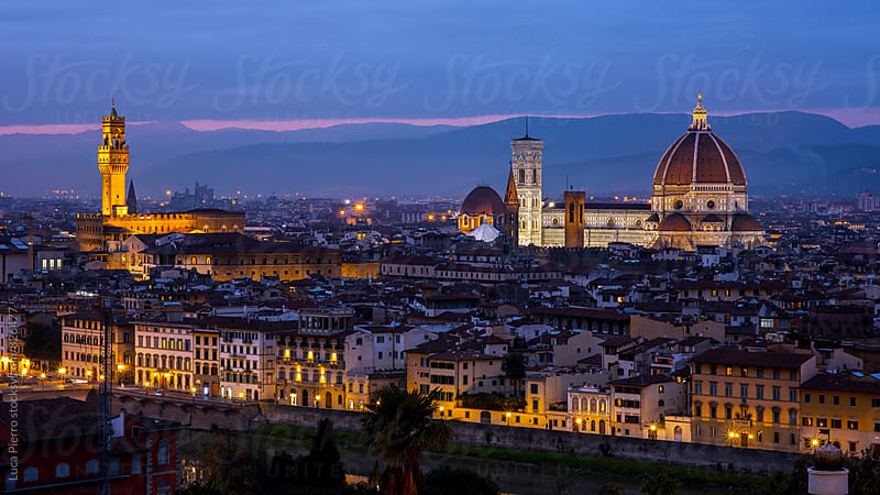 Palazzo Vecchio and Cathedral of Santa Maria del Fiore (Duomo) from Piazzale Michelangelo at night, Florence, Italy by Luca Pierro for Stocksy United