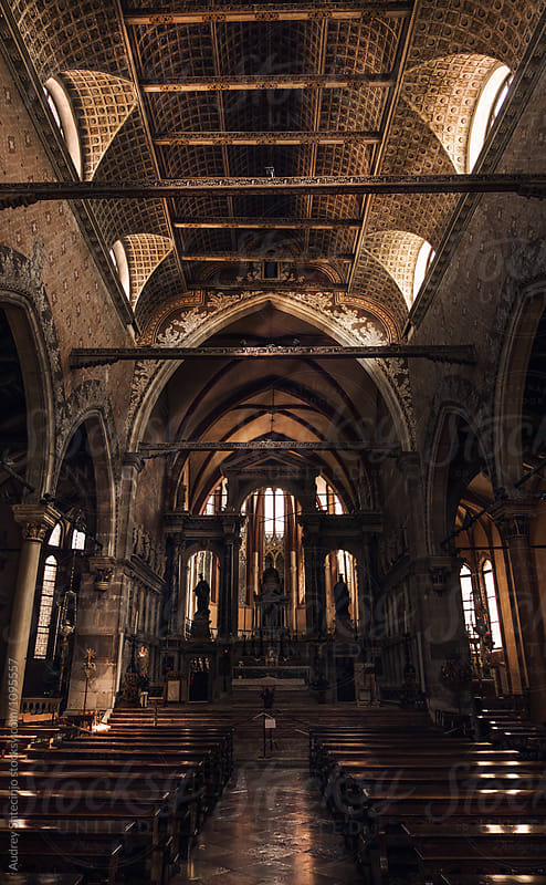 Church of San Stefano gothic style interior.Venice /Italy