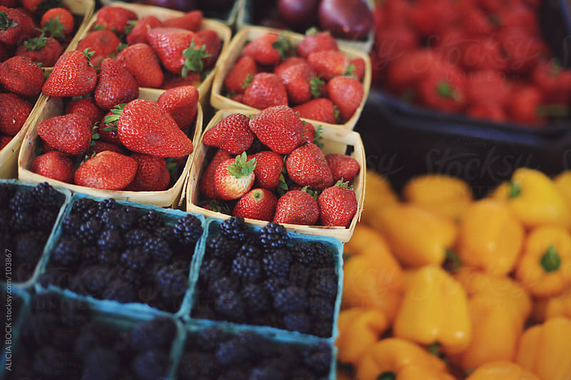 Fresh Picked Berries At A Farmer's Market by ALICIA BOCK for Stocksy United