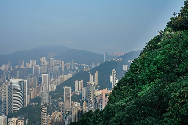 The urban sprawl of Hong Kong from the Peak by Adrian Seah for Stocksy United