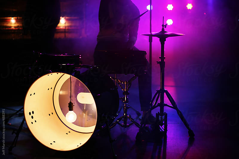 Drum kit with light by Jeff Marsh for Stocksy United