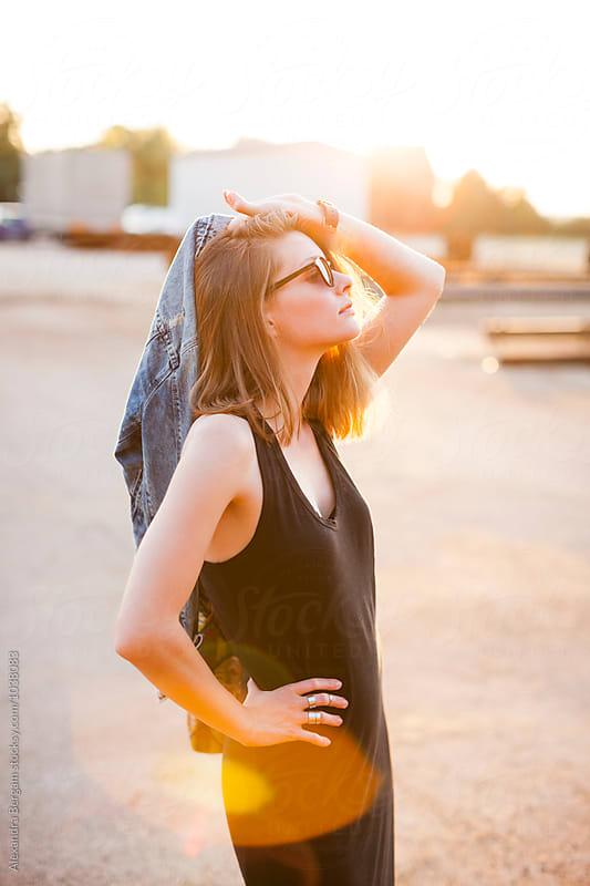 Beautiful woman at sunset by Aleksandra Kovac for Stocksy United