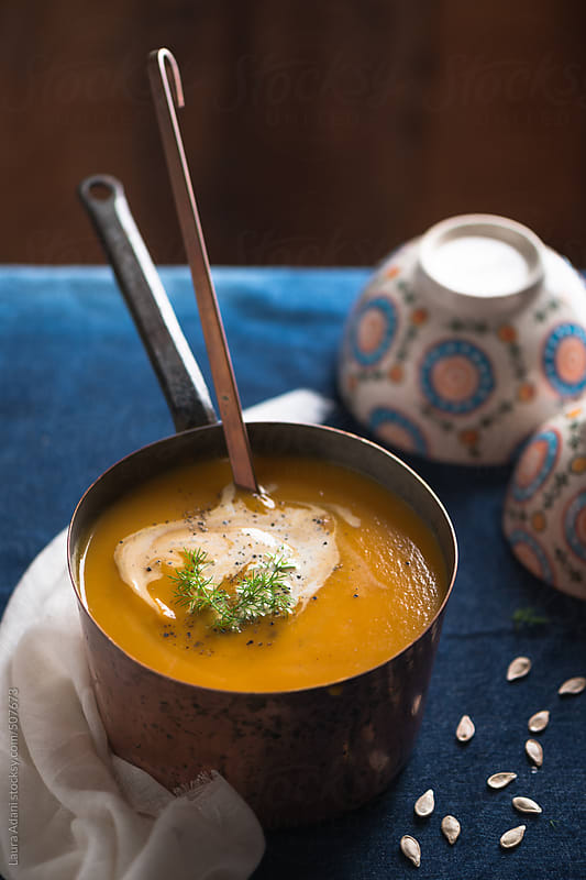 Pumpkin soup by Laura Adani for Stocksy United