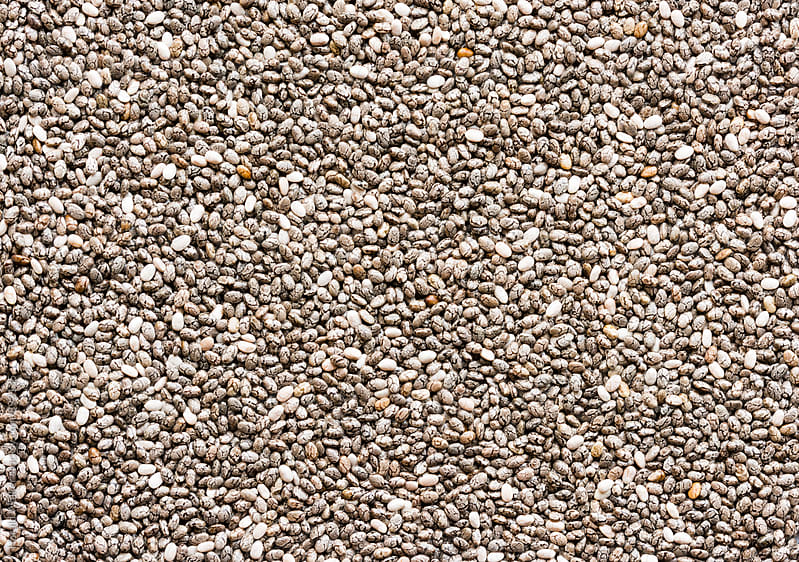 Chia seeds from above by Harald Walker for Stocksy United