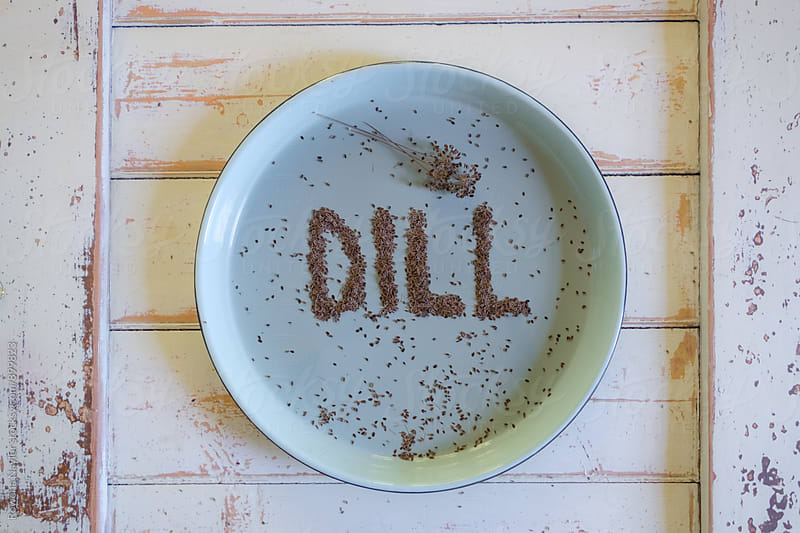 The word Dill spelt with Dill Seeds on blue tray by Rowena Naylor for Stocksy United
