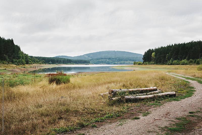 Landscape with path and lake on a cloudy day by Aleksandar Novoselski for Stocksy United