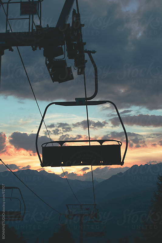 Sunset from a cableway. by BONNINSTUDIO for Stocksy United