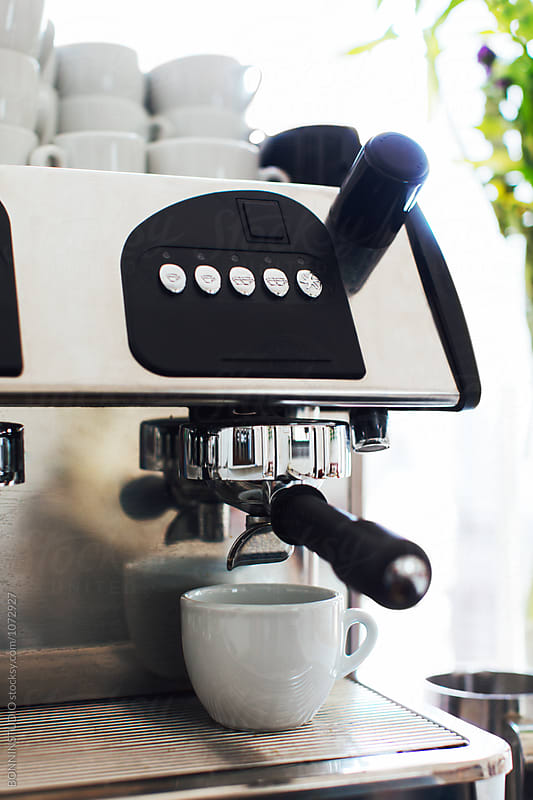 Coffee maker ready to preparing a coffee.  by BONNINSTUDIO for Stocksy United
