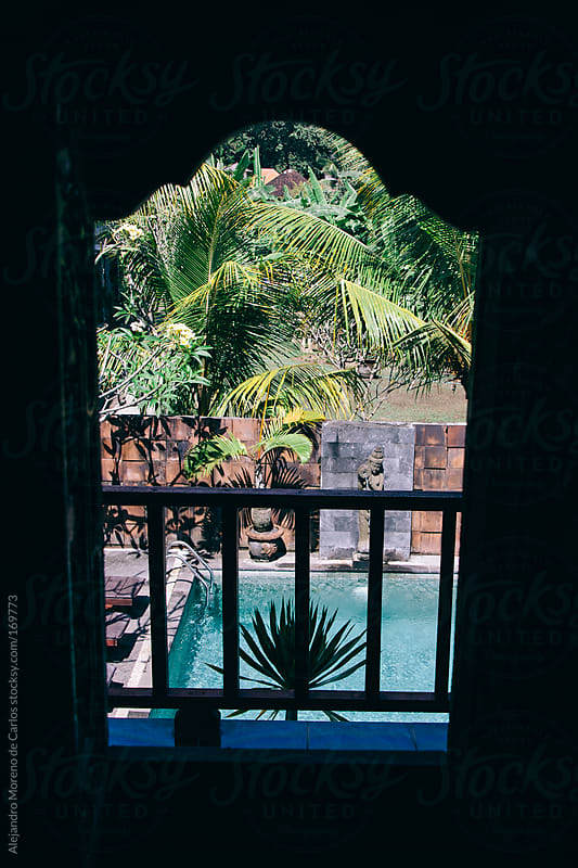 Hotel tropical setting and swimming pool through a window - door on shadow by Alejandro Moreno de Carlos for Stocksy United