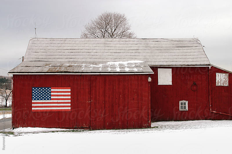 American Flag on Rural Barn by Raymond Forbes LLC for Stocksy United