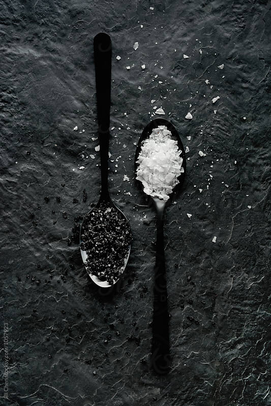 Black and white food salt seasoning by Jill Chen for Stocksy United