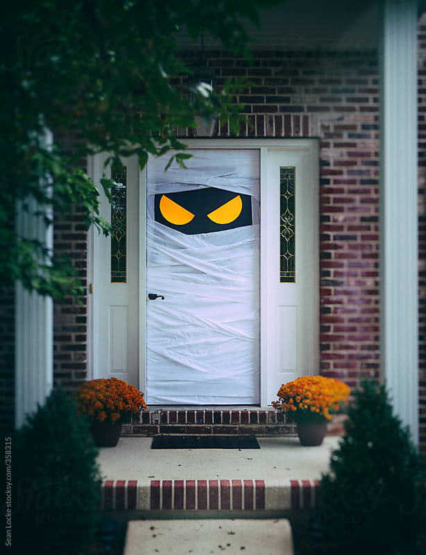 Spooky Halloween Door Wrapped Up As Mummy by Sean Locke for Stocksy United : mummy door - pezcame.com