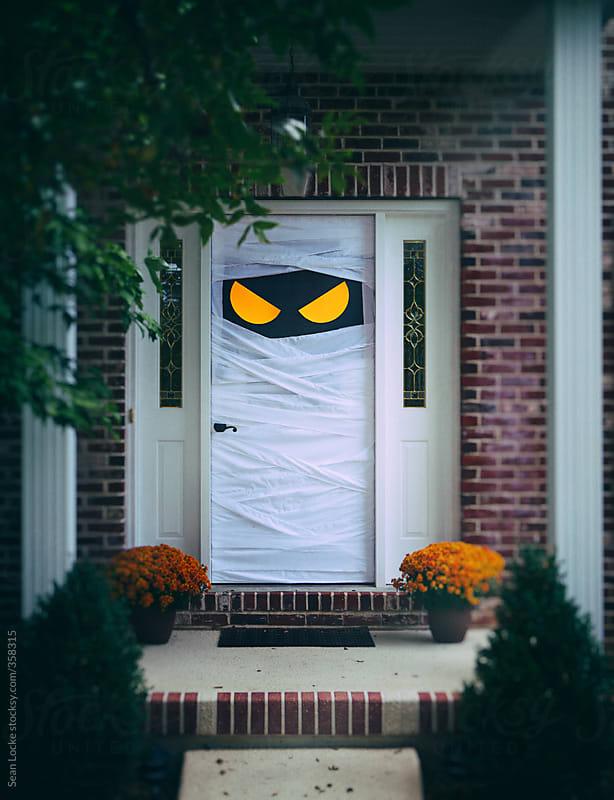 Spooky Halloween Door Wrapped Up As Mummy By Sean Locke