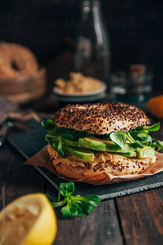 Bagel sandwich by Nataša Mandić for Stocksy United